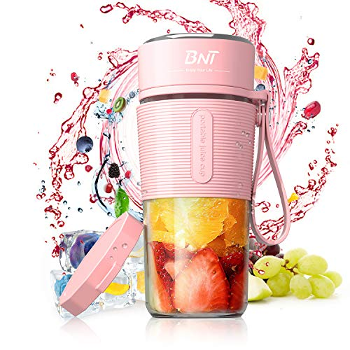 Personal Blender for Shakes and Smoothies, 17.6oz Portable Blender with BPA-Free, Personal Size Blender for Smoothie, Fruit Juice, Milk Shakes with Travel Cup and Extre Lid (Pink)