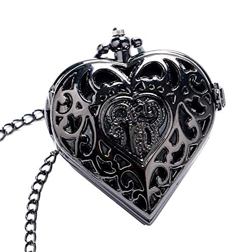 LEYUANA Reloj de Bolsillo de Cuarzo con Forma de corazón Hueco Negro, Collar Largo, Colgante de Steampunk Regalo de Amante de Mujer niña
