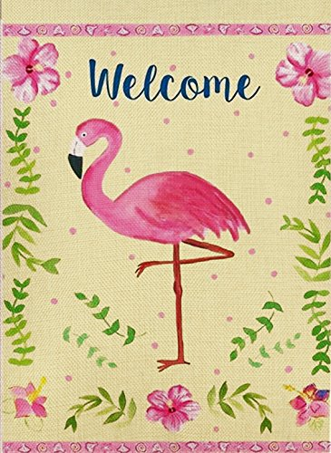 Dyrenson Flamingo Garden Flag Double Sided, Home Decorative Welcome Quote House Yard Flag, Spring and Summer Garden Decorations, Pink Tropical Flower Holiday Seasonal Burlap Outdoor Flag 12 x 18