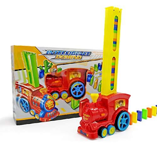 lefeindgdi Domino Auto Zug Spielzeug, elektrisches Domino Auto Fahrzeug Modell Magische Automatische Einrichtung Bunte Kunststoff Domino Spielzeug Stapeln Domino Blöcke für Jungen Kinder (Transparent)