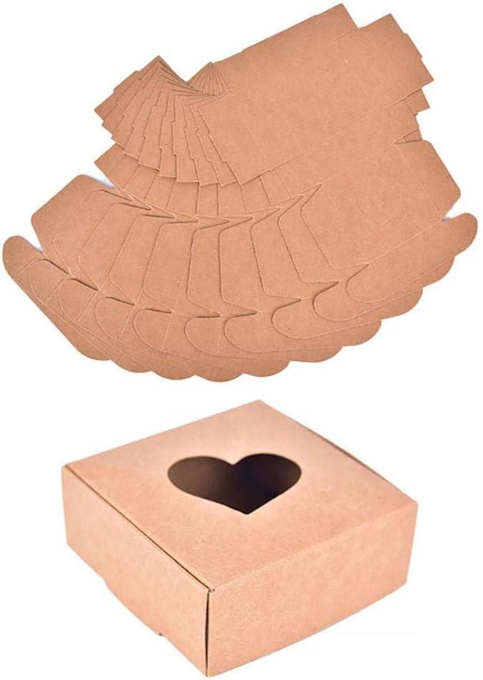 IGUFSDIG 10Pcs Kraft Paper Box Brown Bakery Boxes Brown Bakery B