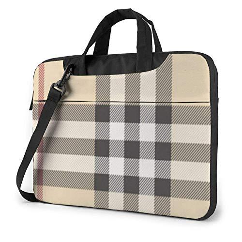 Gray Plaid Lines Laptop Bag Briefcase Shoulder Mesenger Bag