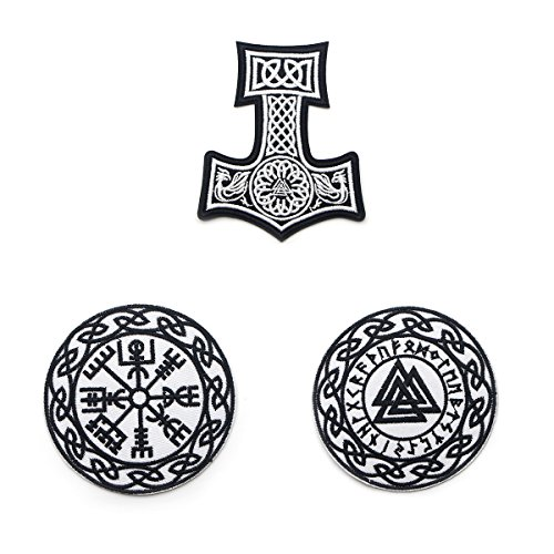 Patches for Jackets Men, 3PCS North Viking Compass Thor Hammer Rune Vegvisir Celtic Embroidered Patch Cool DIY Decor - Black & White