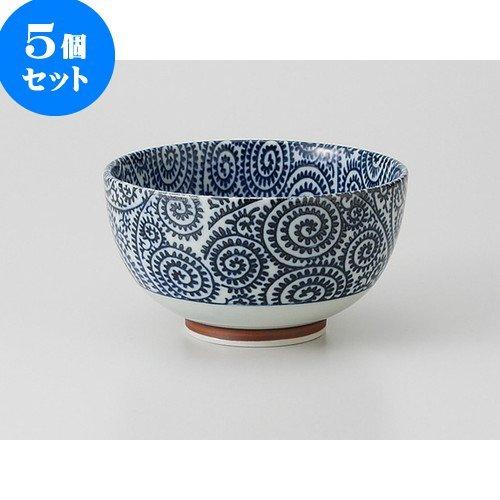 5個セット古染タコ唐草 茶漬碗 [ 13.1 x 7.3cm 300g ] 【 多用碗 】 【 料亭 旅館 和食器 飲食店 業務用 】