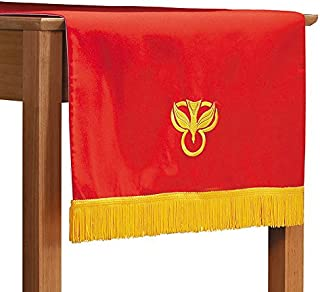 Beautifully Embroidered Reversible Table Runner Red/White With Gold Fringe