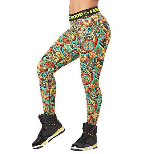 Zumba Fitness Weit Jacquard Bund Kompression Sexy Sport Workout Leggings Damen Pantaloni a 3/4, Zumba Green, S Donna