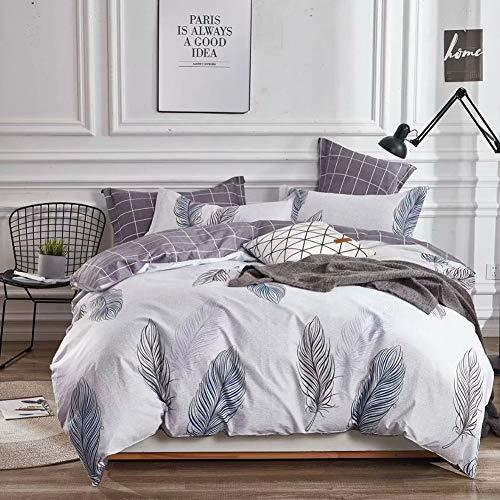 KEAYOO Bettwäsche 135 x 200 cm mit Elegantem Federmuster 100% Bauwolle 2 Teilig Wendebettwäsche für Einzelbett Hell Lila mit reißverschluss