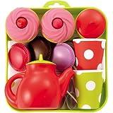 Tee-Set Tablett mit Cupcakes, ca. 19,5 x 19,5 cm, viel Zubehör, bunt