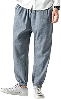 Macondoo Men's Jogger Ankle Baggy Linen Trousers Chinese Style Sports Casual Pants