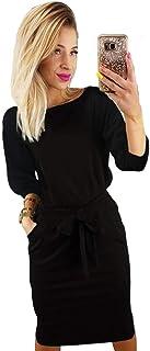 ea62e38106 Longwu Women s Elegant Lantern Sleeve Short Sleeve Wear to Work Casual  Pencil Dress with Belt