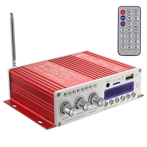 WINGONEER Mini Bluetooth estéreo de alta fidelidad de audio amplificador AMP Bass Booster MP4 12V de la ayuda FM / MP3 / TF / USB / DVD para coche de la motocicleta del coche automático de CD DVD