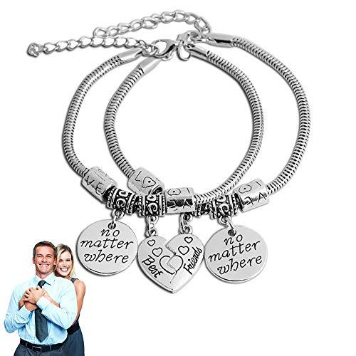 I migliori amici braccialetti Split cuore spezzato braccialetti doppi set amicizia bracciale regalo unico design lettera'non importa dove' braccialetto set di 2-Silver