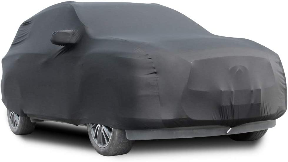 SLanguage Indoor Sports Car Cover Velvet Stretch Dust-Proof Protection Full Car Cover for Underground Garage Black 4.5-4.8m Car Show