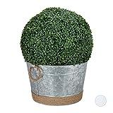 Relaxdays Zinkwanne wasserdicht, rund, Getränkekühler, Pflanztopf für Garten, Miniteich, Wanne 30 l, HxD 26x41,5cm, Zink, Silber