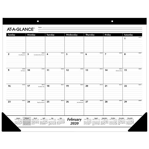 "AT-A-GLANCE Desk Calendar 2020, Office Desk Pad Organizer, Desktop Agenda, Weekly Planner, Compact Note Pad for Home Office Supplies and Desk Decor, 21-3/4"" x 17"", Standard, Ruled Blocks (SK2400)"
