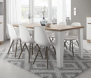 Table de Salle à Manger scandinave Lier en Bois 180 cm Blanc avec Pied Bois