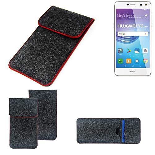 K-S-Trade Handy Schutz Hülle Für Huawei Y6 2017 Single SIM Schutzhülle Handyhülle Filztasche Pouch Tasche Hülle Sleeve Filzhülle Dunkelgrau Roter Rand
