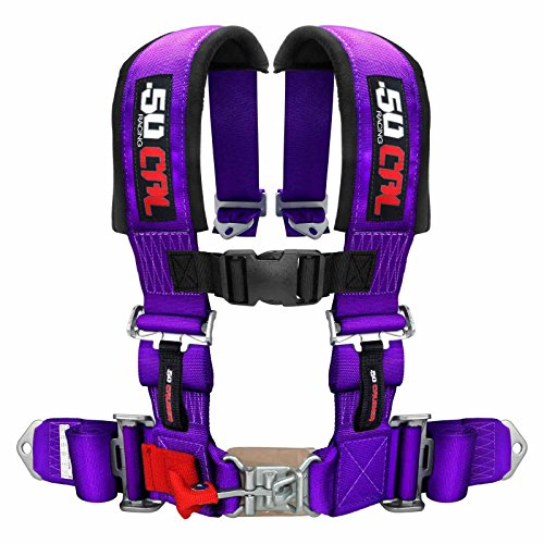 UTV STVMotorsports 4 Point 2 Straps Seat Harness Auto Latch Shoulder Pads RH4.2A for Off-Road Vehicles for one seat Trucks Purple