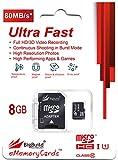 BigBuild Technology 8GB Ultra schnelle 80MB/s Klasse 10 MicroSD Speicherkarte für Polaroid ID2020 Camcorder, SD Adapter ist im Lieferumfang enthalten