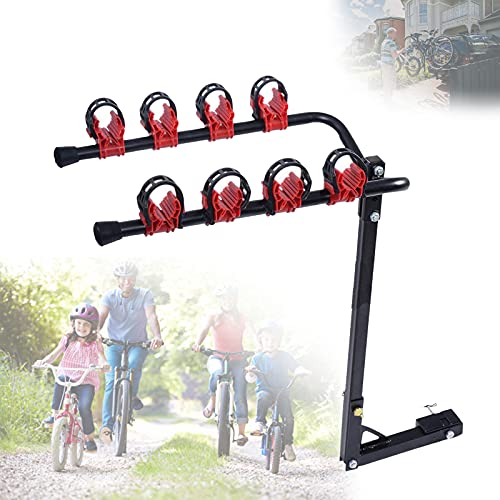 Reciever Mount Bike Rack, Tow Bar Bike Rack 4 Bikes with Maximum Load of 60kg, Tiltable Mainmast, Fit with 2' Hitch Receiver, Bicycle Carrier for Sport & Outdoor Cycling