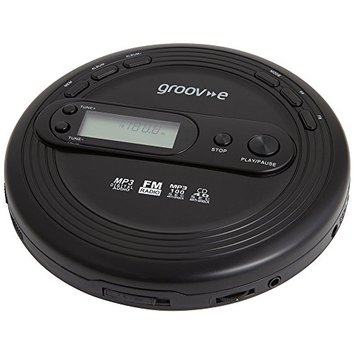 Groov-e GVPS210BK Personal MP3 & Radio CD Player with Track Programmable Memory, LCD Display and Earphones Included - Black