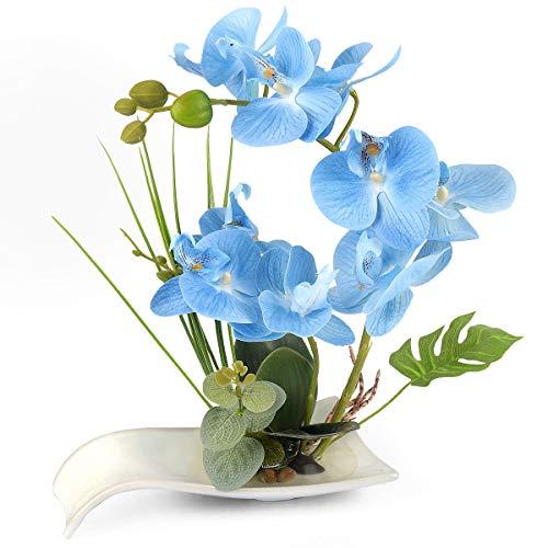 Yobansa Dekorative echte Berührung gefälschte Orchidee Bonsai künstliche Blumen mit Imitation Porzellan Blumentöpfe Phalaenopsis Blumenarrangements für Home Decoration (Blue 01)
