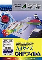 エーワン OHPフィルム インクジェットプリンタ用 A4 ノーカット 10シート 27077 【× 2 パック 】