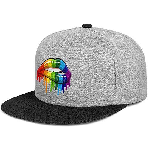 Gay Homosexual Lesbian Rainbow Lips Pride Unisex Cotton Flat Brim Hat Adjustable Hip Hop Snapback Cricket Cap