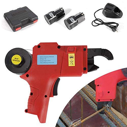 HYLH Tragbare Automatische Rebar Bindemaschine Wiederaufladbare Leichteste Stahlstange Stange Binden Bindewerkzeug Vine Tier (Draht: 8-34mm) (rot)