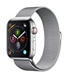 Apple Watch Series 4 (GPS + Cellular) con caja de 44 mm de acero inoxidable en plata y pulsera Milanese Loop en el mismo tono