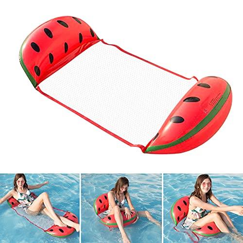 DazSpirit Aufblasbares Schwimmbett, Wasser-Hängematte, 4-in-1Loungesessel Pool luftmatratze, Pool aufblasbare schwimmende hängematte, tragbarer schwimmmatte für erwachsene & Kinder (Wassermelone)