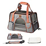 perfrom Pet Carrier with Fleece Sleeping Mat, Airline Approved Soft Sided Pet Travel Carrying Handbag Car Seat Safe Carrier,in Luggage Cart for Cats Small Dogs Breathable 4-Windows Design (Dark Grey)