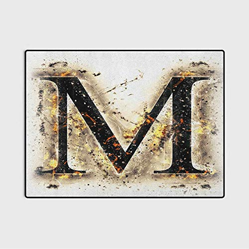 Letter M Home Decor Rugs Language Writing School Themed Name Initials in Fire Background Steamy Print Stair treads Carpet Tan Black Orange 3 x 5 Ft