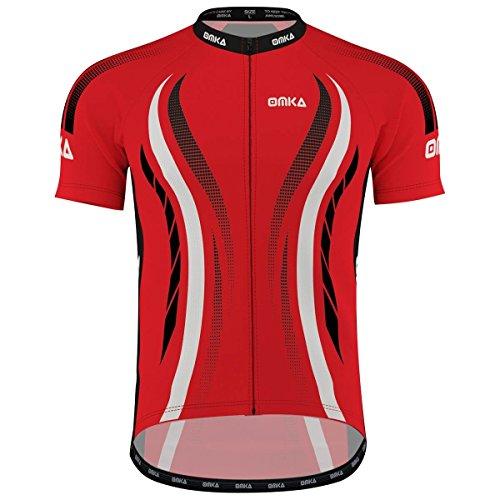 OMKA Herren Radtrikot Fahrrad Radler-Trikot Racing Performance Shirt mit Sublimationsdruck, Größe:M