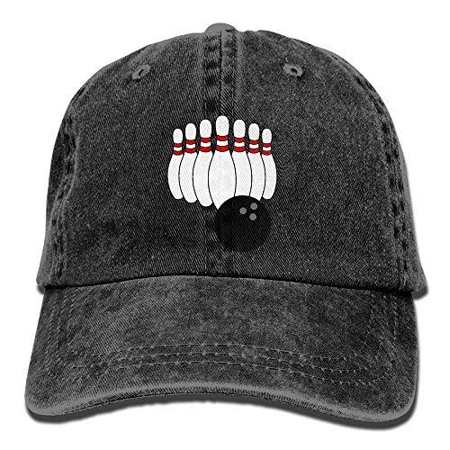 Ahdyr Cowboy Baseball Cap Männer & Frauen Dad Style Hüte Bowling Pin-Black