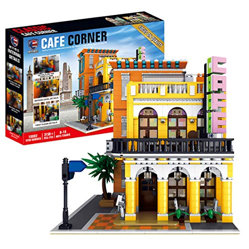 BGOOD Juego de construcción para casa, 3158 bloques de construcción modular Café con juego de iluminación y figuras, modelo de casas, compatible con Lego Creator Expert Stadthaus