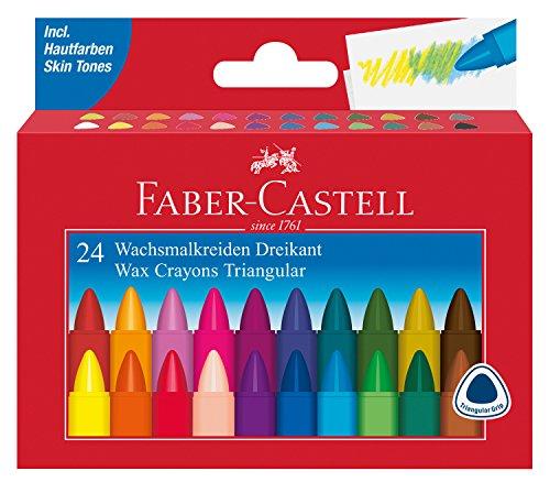 Faber-Castell 120024Triangulaire Crayons de Cire Craie 24Étui en Carton
