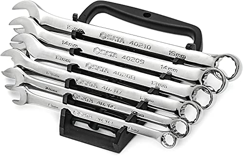 SATA 6-Piece Full-Polish Metric Combination Wrench Set with Offset Box Ends and an Easy-to-Carry Wrench Rack - ST09018SJ