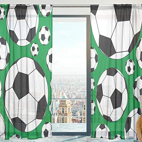 Mnsruu Cortina de gasa con diseño de balón de fútbol para sala de estar, puerta, ventana, 140 x 213 cm, 2 paneles