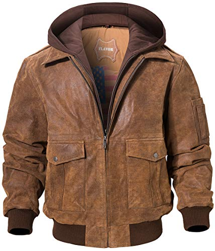 FLAVOR Men's Leather Flight Bomber Jacket Air Force Aviator (Small, Brown with Hood)