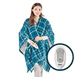 Cozy Sherpa Heated Shawl Wrap Heat Blanket   Electric Heating Throw with Controller   Washable, Auto Shutoff, Reversible 50 x 64 Inch, Blue Plaid