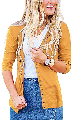 Women's S-3XL Solid Button Front Knitwears 3/4 Sleeve Casual Cardigans Mustard M