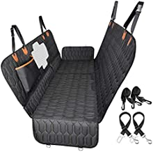 4-in-1 Dog Car Seat Cover, OKMEE Convertible Dog Hammock Scratchproof Pet Car Seat Cover with Mesh Window 2 Seat Belts , Durable Nonslip Dog Seat Cover for Back Seat Protector for Cars Trucks SUVs