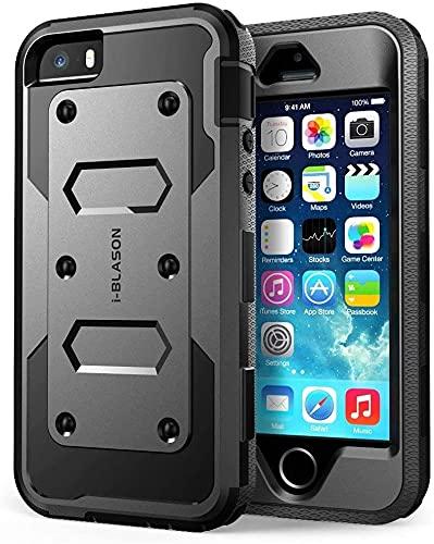 i-Blason Hülle Kompatibel für iPhone SE / 5S / 5 Handyhülle 360 Grad Hülle Robust Schutzhülle Cover [Armorbox] mit integriertem Bildschirmschutz, Schwarz - 4 Zoll