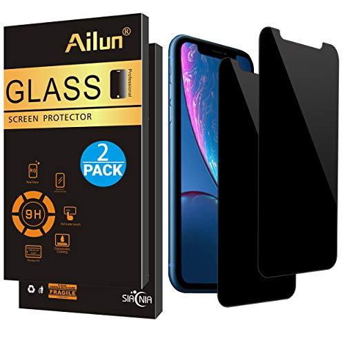 Ailun Privacy Screen Protector Compatible iPhone XR (6.1inch 2018 Release),[2Pack],Anti Spy Tempered Glass,Anti-Scratch,Case Friendly