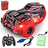 Feeke Remote Control Car, 2020 Newest 2.4Ghz High Speed Terrain RC Racing Cars Toy, 1:14 Scale Three Wheeled Drift Performance Car with Rechargable Batteries + Connector, Gift for Boys Kids and Adults