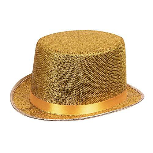 Boland 04176 - Hut Glitz, gold, glänzender Zylinder, flache Hutkrempe, one size, Karneval, Halloween, Fasching, Mottoparty, Kostüm, Accessoire, Theater, Verkleidung