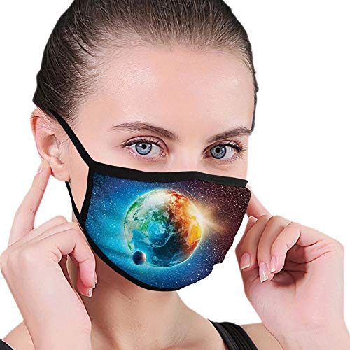 Reusable half bandanas M-shaped nose clip ,Planet Earth in Sun Rays Elements Astronomy Atmosphere Sky Satellite Moon Image,breathable sports mouth cover