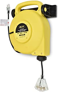 25 Ft Retractable Extension Cord Reel - 2 In 1 Mountable & Portable Power Cord Reel with 3 Electrical Outlets - 14/3 SJTW Heavy Duty Yellow Case and Black Cable With Lighted Power Block