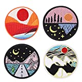 4 Pieces Sunrise Sunset Embroidered Patch Mountain River Iron on Round Sew On Patches for Clothing Operation Enduring Cluster Patch Funny Patch for Clothes, Hats,Backpack (Black)